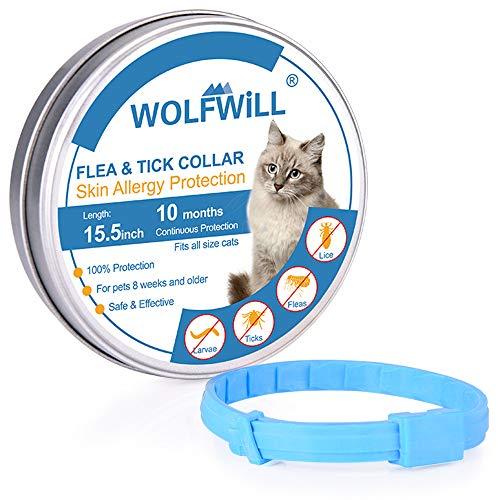 WOLFWILL OLFWILL Katzen-Flohhalsband 10 Monate Schutz gegen Flöhe und Zecken Halsband für Katzen, natürliche Katzen, mit Verstellbarer Länge