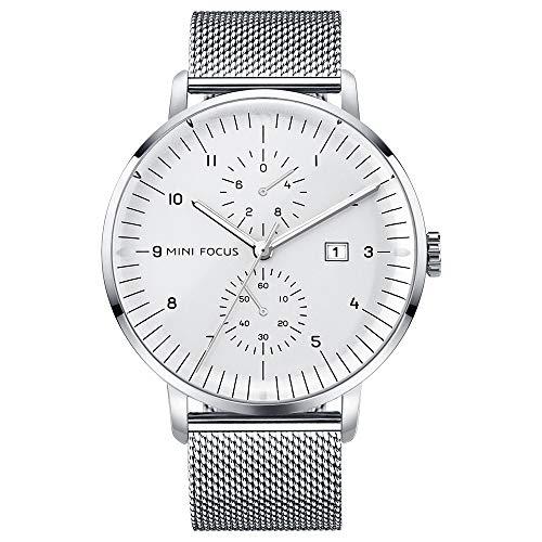 QRMH Herrenmode Casual Watch Edelstahl-Armband-Uhr Geschwungene Crystal Mirror -