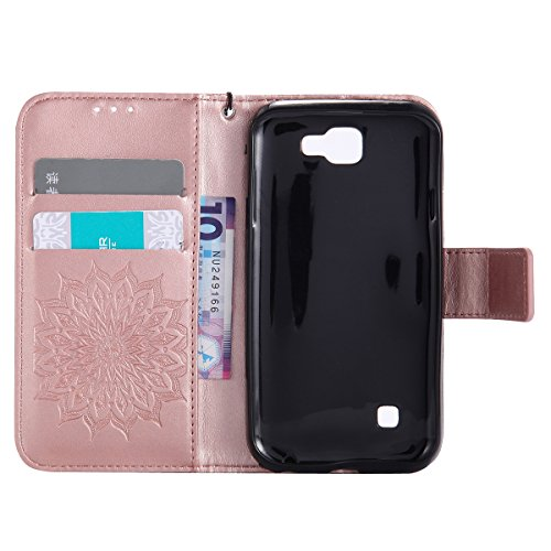 Coque Cuir Etui Pour LG K4,LG K4 Portable Coque Housse,Ekakashop Jolie Bleu Tournesol Painting Bookstyle Rabat Shell Silicone Etui Flip Cover Smart Case Housse de Protection Portefeuille à Fermeture M Rose D'or