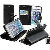 """Emartbuy® Apple Iphone 6s Plus 5.5"""" Zoll Brieftaschen Wallet Etui Hülle Case Cover aus PU Leder Schwarz mit Kreditkartenfächern"""