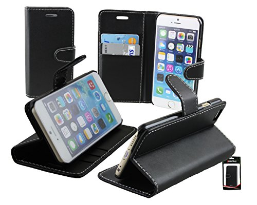 "Emartbuy® Apple Iphone 6s 4.7"" Zoll Brieftaschen Wallet Etui Hülle Case Cover aus PU Leder Schwarz mit Kreditkartenfächern Brieftasche bei Schwarz"
