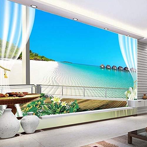 VVNASD 3D Wandbilder Wand Tapete Aufkleber Dekorationen Malediven Fenster Balkon Strand Seeansicht Hintergrund Kunst Mädchen Schlafzimmer (W) 250X(H) 175Cm