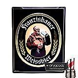 Franziskaner Metallschild Werbeschild Deko Glas Gläser selten Gastro Bar NEU + anygoods Flaschenausgiesser