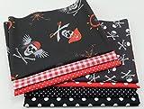 Stoffpaket Patchwork Baumwolle Piraten schwarz-rot 7 x 50 x 30 cm