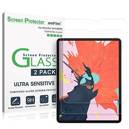 amFilm Panzerglas Bildschirmschutzfolie für iPad Pro 12,9 (2 Stück), Abger&ete Ecken Panzerglas Schutzfolie für Apple iPad Pro 12,9 Zoll (2018)