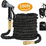 100FT Expandable Garden Water Hose with 8 Function Spray Gun, Triple Layer Latex
