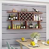 Health UK Shelf- Holz Wandregal, Weinregal Weinschrank Wand hängende Grid Rhombic Restaurant Hung Haushalt Weinregal welcome (Farbe : Brown)