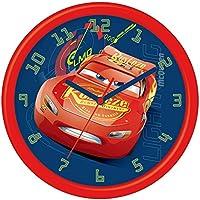 Disney  Cars 3 - Reloj de pared en caja de regalo, Plástico, 24 cm, Multicolor