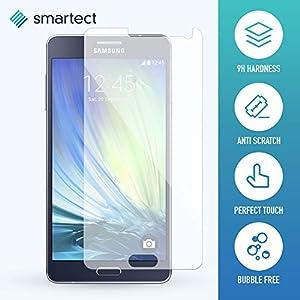 smartect® Samsung Galaxy A7 [2015] Premium Panzerglas Display-Schutzfolie aus gehärtetem Tempered Glass | Gorilla-Glas mit Härtegrad 9H | Panzerfolie - Top-Schutzglas gegen Kratzer (gerundete Kanten)
