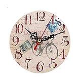 Tomatoa Wanduhr DIY große Wanduhr Vintage Style Nicht-tickende Stille Antike Holz Wanduhr für Home Kitchen Office Geräuschlose Stumm Wanduhr Ohne Tick Tack Geräusch