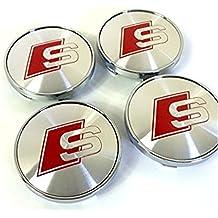 Juego de cuatro llantas de aleación Centro Tapacubos (S Line Rojo Logo Gris Plata cubre Badge 60mm para Audi A3A4A5A6A7A8Q3Q5Q7S4S5S6S8RS4TT A4L A6L S-Line Quattro y otros modelos