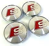 Set di quattro ruote in lega centro coprimozzi S Line logo rosso grigio argento Covers distintivo 60mm adatto per Audi A3A4A5A6A7A8S4S5S6S8RS4Q3Q5Q7TT A4L A6L S-Line quattro e altri modelli