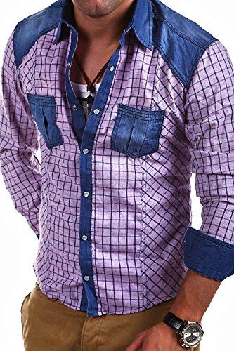 Tazzio - 14-303 - Chemise à carreaux - Empiècements en jean Violet