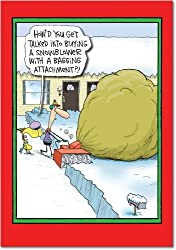 Snowblower Bagging Attachment Christmas Humor Paper Card (12 Pack)