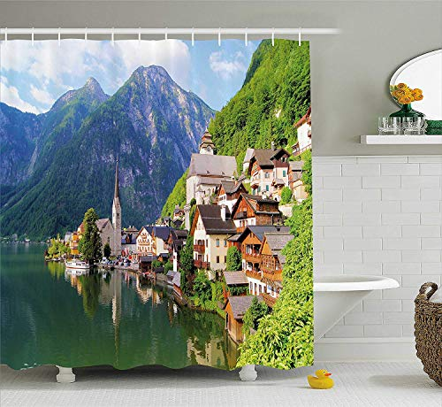 Curtain, Idyllic Alps Village Small Town by Majestic Mountain Lake European Pastoral Scenery, Fabric Bathroom Decor Set with Hooks, 72x72 inches, Multicolor ()