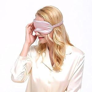 LULUSILK 100% Seide Verstellbare Schlafmaske Augenmaske Schlafbrille für Damen und Herren