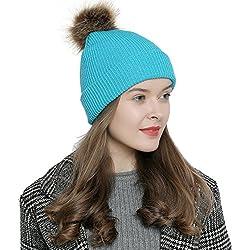 DonDon Bonnet d'hiver avec pompon femme bonnet laine chaud et doux - turquoise avec fils argentés
