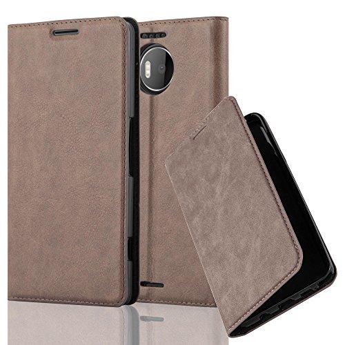 Cadorabo Hülle für Nokia Lumia 950 XL - Hülle in Kaffee BRAUN – Handyhülle mit Magnetverschluss, Standfunktion und Kartenfach - Case Cover Schutzhülle Etui Tasche Book Klapp Style