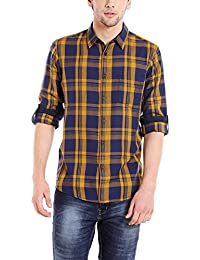 Dennis Lingo Men's Cotton Red Checkered Casual Shirt