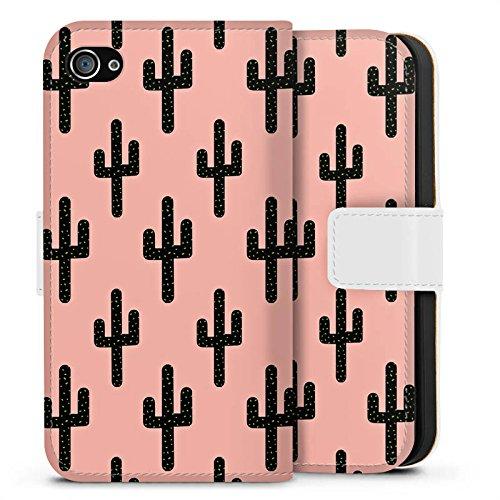 Apple iPhone X Silikon Hülle Case Schutzhülle Kaktus Muster Schwarz Pink Sideflip Tasche weiß