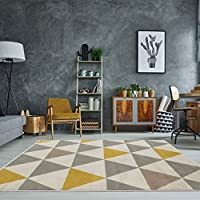 Tapis de salon tradtionnel Milan triangles motif arlequin ocre jaune gris beige 120cm x 170cm
