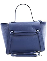 28eaa56f31 Borsa A Mano In Vera Pelle Colore Blu - Pelletteria Toscana Made In Italy -  Borsa
