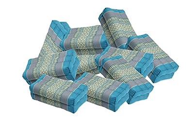 12er Pack Meditationskissen mit hochwertiger Füllung aus Kapok in Thaimuster blau