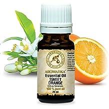 Olio essenziale di arancio dolce 20 ml 100% puro e naturale - Non diluito - Citrus Sinensis - Brasile - Usi per il sollievo dalla tensione - Buon umore - Relax - Effetto anticellulite - Rinfreschi - Profumatori per la casa - Il meglio per la bellezza - Benessere - Aromaterapia - Massaggio - SPA - Bagno - Cura personale - Diffusore - Aroma Lamps - per cosmetici - Fare candele - Oli profumati - Bottiglia di vetro marrone di AROMATIKA