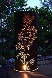 Unbekannt große außergewöhnliche Licht-Rostsäule - Feuersäule- ca. Höhe 120 cm - dekorative sehr stabile Bambussäule für Haus und Garten aus Metall -zaubert ein großartiges Licht
