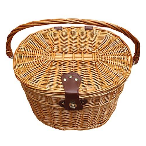 LIOOBO Fahrradkorb Wicker Frontlenker Fahrradkorb Cargo Front Box mit Deckel und Griff für Hundepicknick Schwinn -