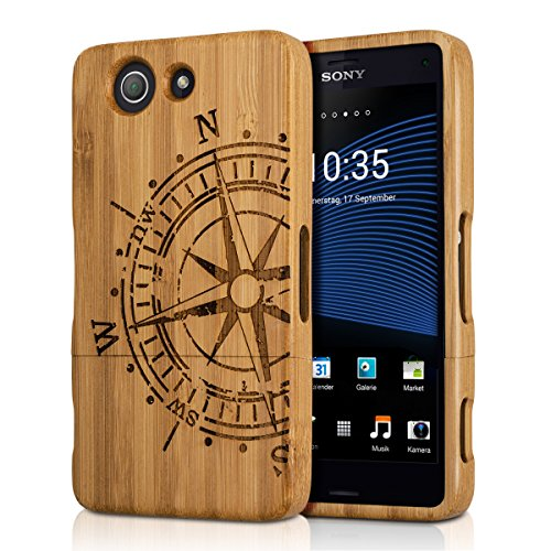 kwmobile Sony Xperia Z3 Compact Cover bambù - Custodia in Bamboo Naturale - Case Rigida Backcover per Sony Xperia Z3 Compact