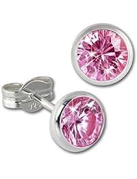 679d28d23889 SilberDream Ohrringe 6mm für Damen 925 Silber Ohrstecker Zirkonia rosa  SDO5536A