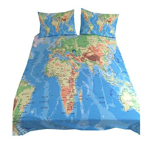 Bettbezug Set 3D Karte Digitaldruck Bettwäsche Set mit Kissen Shams Bettbezug Set mit Versteckten Reißverschluss (Welt Karte 2, 220 * 240cm) (Welt-bettwäsche-set)