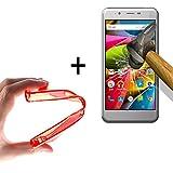 WoowCase | Flexible Gel Schutzhülle für [ Archos 50Cobalt ] [ +1 Schutzglas ] Hartglas, Archos 50Cobalt Hülle Case TPU Silikon in Rot