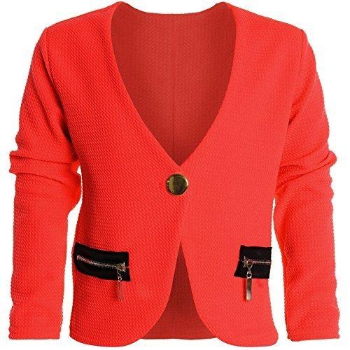 Bolero Strick Kinder Mädchen Rüschen Ärmel Schulterjacke Bauchfreie Jacke 20583, Farbe:Rot;Größe:140