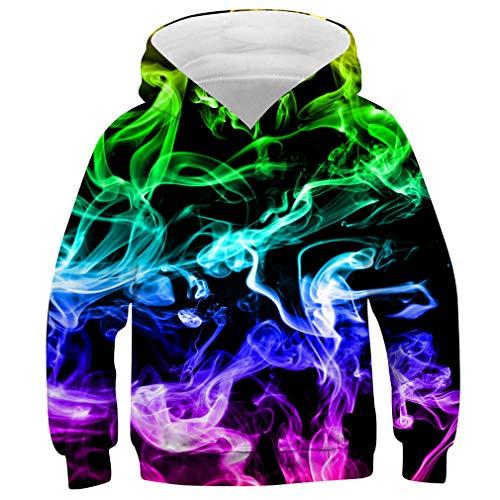 Idgreatim Ragazzo Ragazza Christmas Sweatshirt Pullover con Cappuccio 3D Pullover con Cappuccio con Tasca L