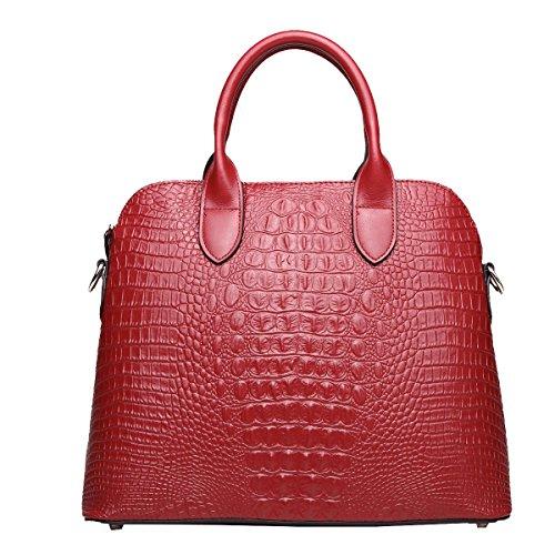 Borse Yy.f Cuoio Sacchetto Guscio Borse Delle Donne Del Cuoio Coccodrillo Modello Big Bag Tracolla Diagonale Multicolore Red