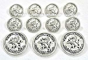 Nouveau ~~laurier Blason LION sur argent ANTIQUE fini métallique Blazer bouton Set ~11 pièces en métal pour un bouton s Spiderman simple Blazer, manteau Sport, veste ou uniforme ~METALBLAZERBUTTONS.CO.UK
