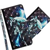 COTDINFOR Huawei Y6 2019 Case Wallet Cool Animal 3D Effect