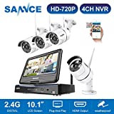 SANNCE 720P 4CH HD Wireless NVR Security Camera System Build-in 10.1' LCD Monitor with 4 1280TVL 1.0MP Weatherproof IP Cameras CCTV Surveillance Camera, Smart phone Scan QR Code Quick Remote Access NO HDD