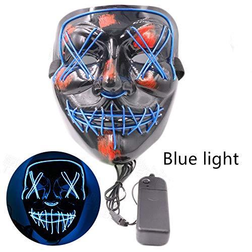 e Cosplay Led Kostüm Maske EL Draht Leuchten für Halloween Festival Party Dekorative Maske,Blue ()