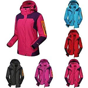 Qenci Unisex 3 in 1 Funktionsjacek Wandernjacke Regenjacke Snowboardjacke Winter Warmgefütterte Skijacke Full Zip mit Fleecejacke Outdoor Sportjacke Kapuzenjacke Gr.36-50