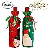 BUOCEANS Weihnachten Flaschen Beutel, Weihnachten Geschenk Taschen, Flanell süße Tisch Deko Santa Schneemann Weihnachten Wein Flasche für Table Dekoration, Weihnachtswein Tasche 2pcs