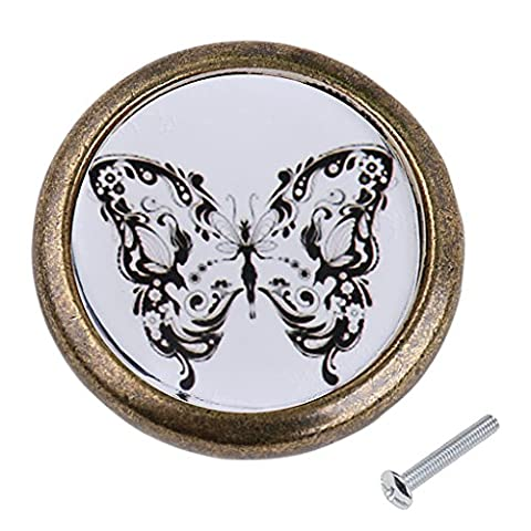 MagiDeal Antique Brass Cabinet Drawer Round Pulls Cupboard Knob Handle Black White Butterfly Pattern