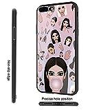 DTYZL Coque arrière en Verre trempé et Cadre en Silicone TPU Souple pour résister aux Rayures et aux Chutes DT-53 Kimoji Kim Kardashian North Kylie Jenner for iPhone 7/8 4