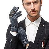 Nappaglo Herren klassische Lammfell Leder Handschuhe Touchscreen Reines Kaschmir-Futter Winter Warm Handschuhe (XL (Umfang der Handfläche:22.8-24.1cm), Dunkelmarineblau(Touchscreen))
