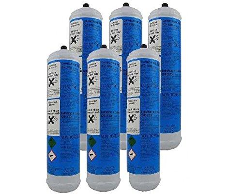 Set 6 Pezzi BOMBOLE CO2 600 gr. Usa e Getta per Gasatori Acqua e Refrigeratori Attacco 11 mm passo 1 mm