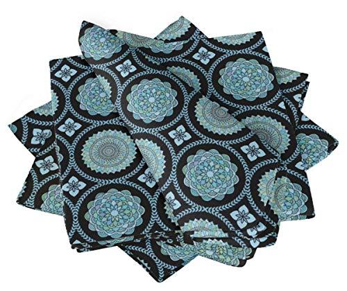 S4Sassy Negro Azul Mandala Fiesta Juego de servilletas de Cena Reutilizables de Lino de Mesa para Fiestas 20 x 20(Paquete de 4)