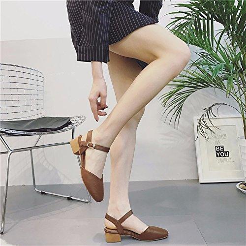 Tout Concorde Avec Les Chaussures Avec De Gros Coréen Rétro - Square Petite Bouche De Baotou Sandale Light brown