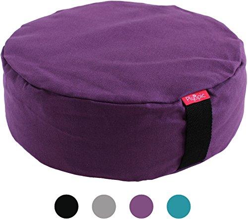 ionskissen | Rundes Yoga Sitzkissen, gefüllt mit Bio Buchweizen | Waschbarer Premium Baumwollbezug, in 4 Farben und 2 Größen (Lila) (Glück, Geld, Ergebnisse)